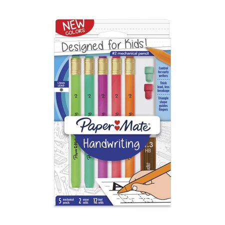 Paper Mate Handwriting Triangular Mechanical Pencil Set with Lead & Eraser Refills, 1.3mm, Fun Barrel Colors, 8 Count