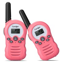 Caroger Walkie Talkies for Kids Two-Way Radios 22 Channels FRS/GMRS 462/467MHZ Portable Handheld Mini Kids Walkie Talkies Long Range 3.3 Miles Carry Charger (Light Pink, 2 Pack)