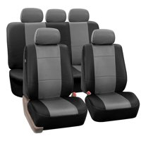 FH Group Black Faux Leather Airbag Compatible and Split Bench Car Seat Covers, Full Set