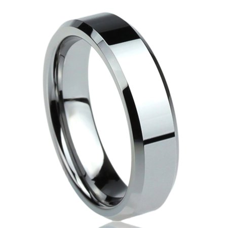 - Men Women 6MM Titanium Comfort Fit Wedding Band Ring Beveled Edges Flat Classy Ring (6 to 14)