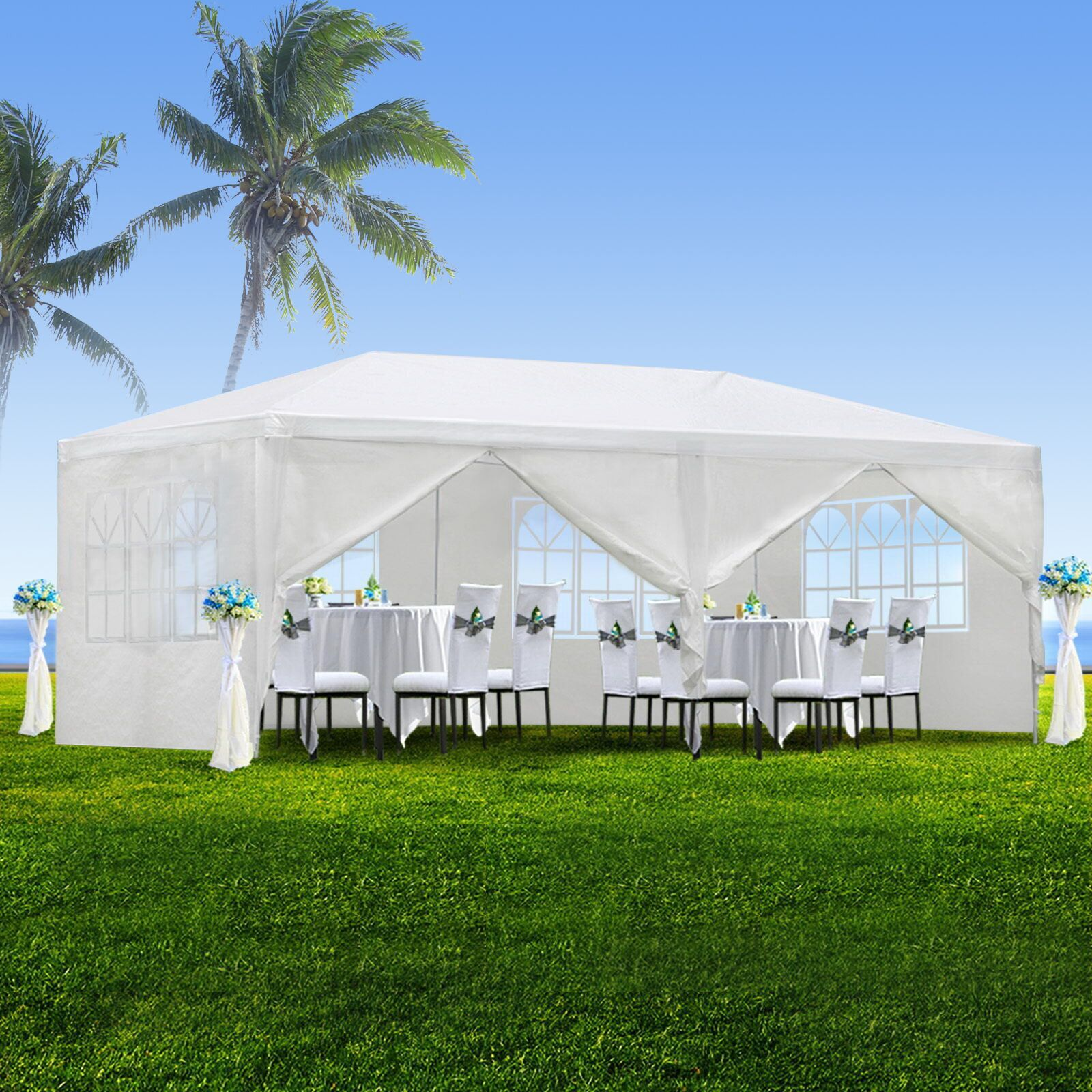 Zeny 10u0027x20u0027 Outdoor Canopy Party Wedding Tent White Gazebo Pavilion w/6 : cheap outdoor canopy tents - afamca.org