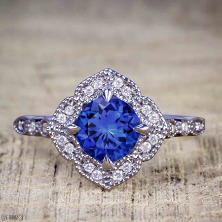 Antique Vintage 1.25 Carat Artdeco Halo Engagement Ring with Real Sapphire and Cubic for Her in Silver with Black Gold Plating