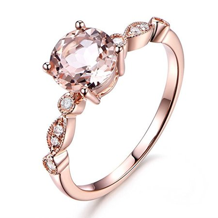 Antique Gemstone Engagement Rings - Antique Design 1.25 Carat Peach Pink Morganite (Round Shaped) and Diamond Engagement Ring in 10k Rose Gold Jewelry