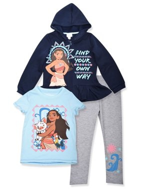 Moana Graphic Hoodie, T-Shirt, And Legging, 3-Piece Outfit Set (Little Girls)