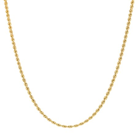 Women's 10KT Yellow Gold 2.0mm Rope Chain Necklace, Simply (Gold Ladies Onyx)