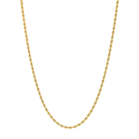 11mm 14k Gold Box (Women's 10KT Yellow Gold 2.0mm Rope Chain Necklace, Simply Gold)