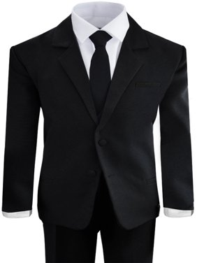 Black n Bianco Boys Black Five Piece Suit with Tie Size 6