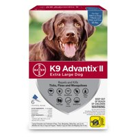 K9 Advantix II Flea and Tick Treatment for Extra Large Dogs, 6 Monthly Treatments