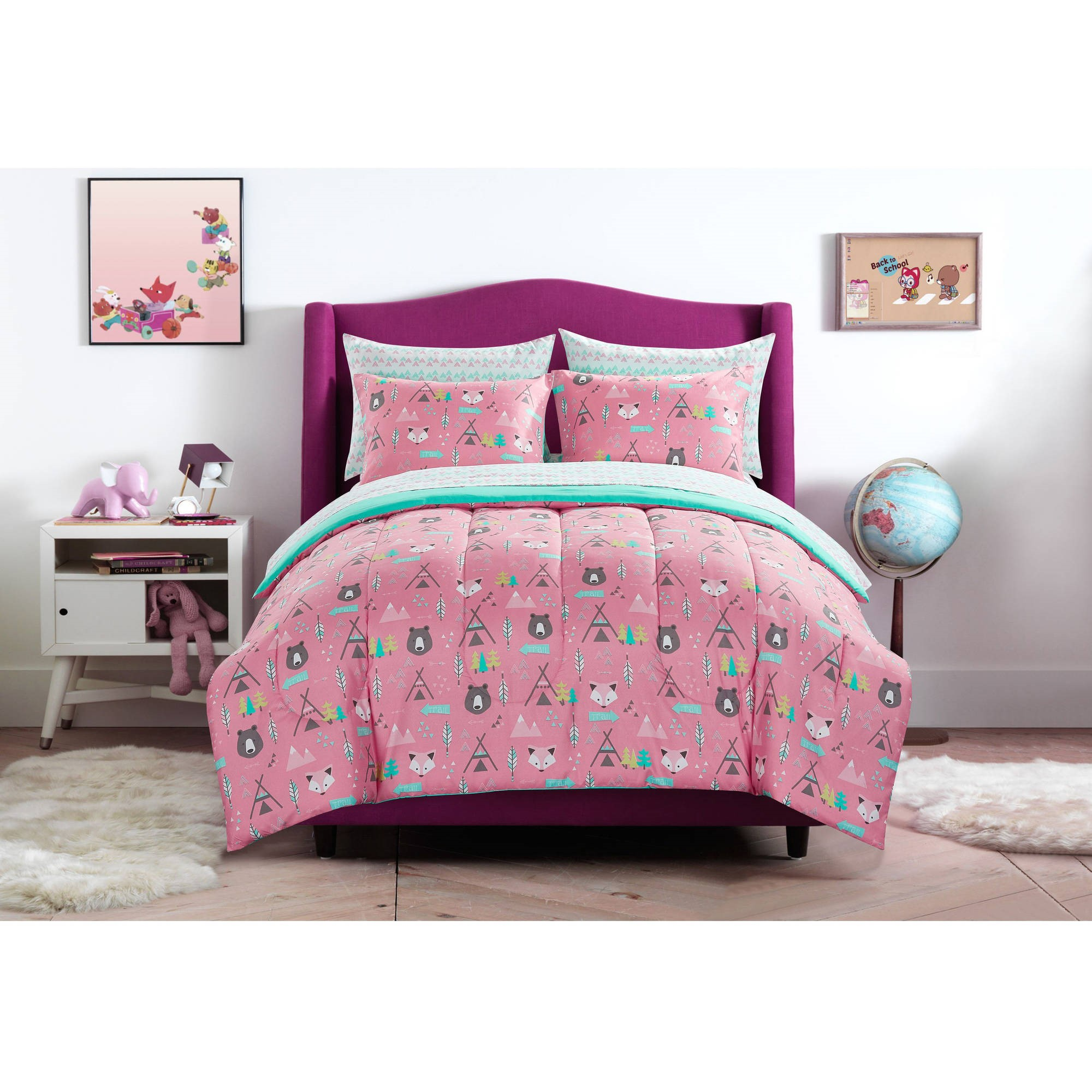 Superior Mainstays Kids Woodland Safari Girl Bed In A Bag Bedding Set