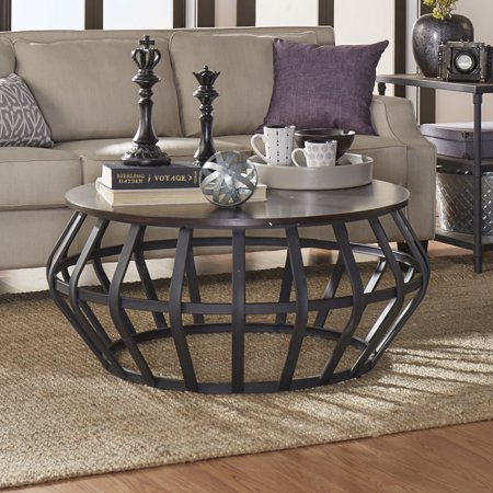 Weston Home Round Cage Shape Wood and Metal Accent Cocktail Coffee Table ()