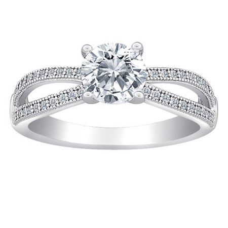 Open Round Ring (Majestic Sterling Silver Micropave Open Arms Round CZ Ring )