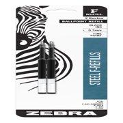 Zebra F-Series Ballpoint Stainless Steel Pen Refill, Fine Point, 0.7mm, Black Ink, 2-Count