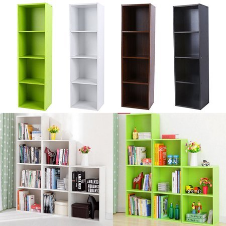 TOPINCN Adjustable 3/4 Shelf Bookcase Storage Home Office Bedroom Bookshelf Wood Furniture Book Shelving