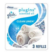 Glade PlugIns Scented Oil Refill Clean Linen, Essential Oil Infused Wall Plug In, Up to 50 Days of Continuous Fragrance, 1.34 oz, Pack of 3