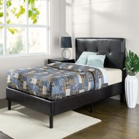 Zinus Kitch Faux Leather Detail-Stitched Platform Bed, Multiple Sizes