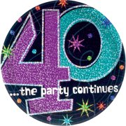 The Party Continues 40th Birthday 9 Dinner Plates 8 Pack