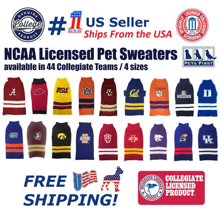 Pets First Collegiate Texas Longhorns Pet Dog Sweater - Licensed 100% Warm Acrylic knitted. 44 College Teams, 4 sizes