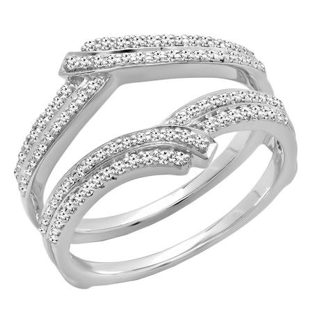 - Dazzlingrock Collection 0.32 Carat (ctw) 18K Round Diamond Ladies Wedding Double Guard Ring 1/3 CT, White Gold, Size 7