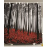 Mystic Forest Trees And Leaves Red Grass Rainy Foggy Gray Scene Shower Curtain