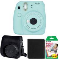 Fujifilm Instax Mini 9 Instant Film Camera (Ice Blue) + Film (2-Pack) + Accessory Bundle