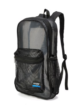 Mesh Backpack Heavy Duty Student Net Bookbag Quality Simple Netting School Bag Security See Through Daypack Black