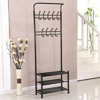 Yaheetech Clothes Coat Stand, Shoes Rack Umbrella Stand, Entry Storage, Max Load Capicity Up to 148.8lbs,   Black