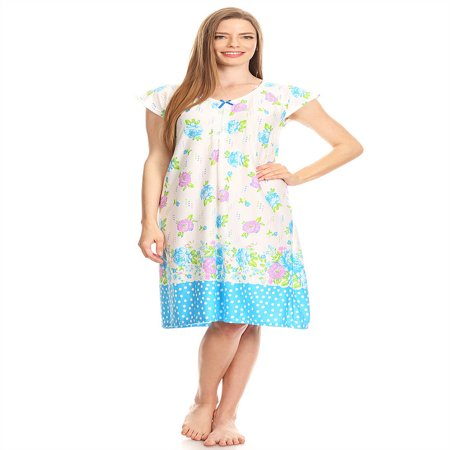 Ladies Sleepwear (809 Womens Nightgown Sleepwear Cotton Pajamas - Woman Sleeveless Sleep Dress Nightshirt Blue M )