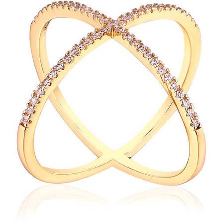 - Swarovski Elements 18kt Gold-Tone Single-Row X Ring