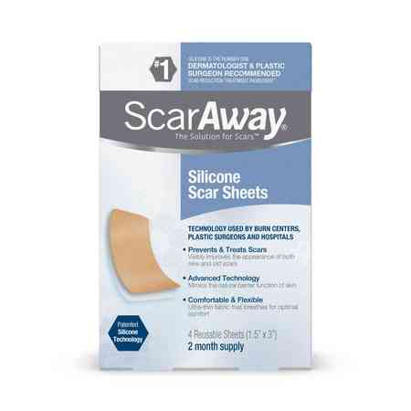 ScarAway Silicone Scar Sheets, 4 Reusable Sheets, 2 Month Supply - Burn Scar Makeup