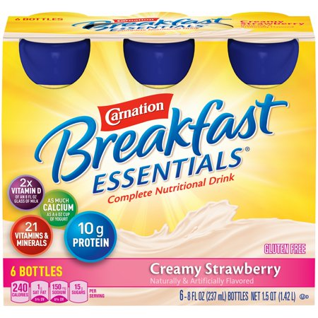 Carnation Breakfast Essentials, Creamy Strawberry, 8 fl. oz. Bottles, 6