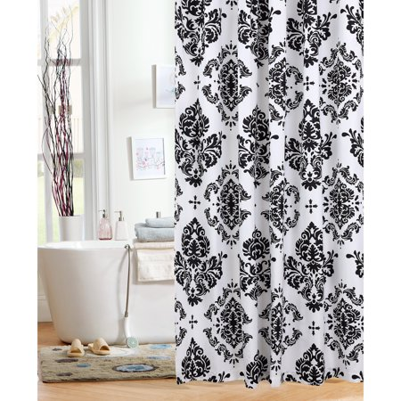 Mainstays Classic Noir Fabric Shower Curtain Walmartcom