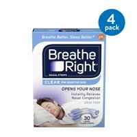 (4 Pack) Breathe Right Nasal Strips to Stop Snoring, Drug-Free, Clear for Sensitive Skin, 30 count