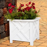 Plant Pot Holder, Planter Container Box by Pure Garden, White