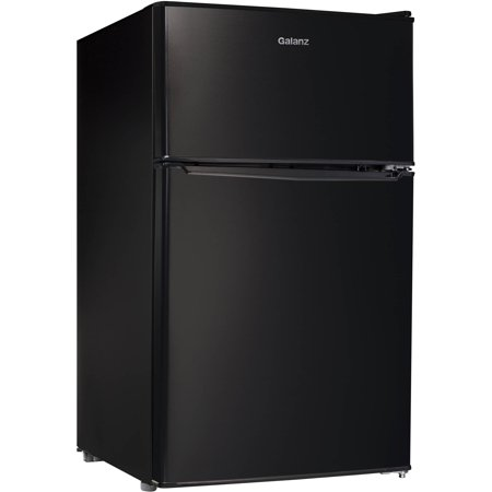 Galanz 3.1 Cu Ft Two Door Mini Fridge with Freezer GL31BK,
