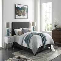 DHI Upholstered Grey Panel Bed, Multiple Sizes