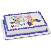 Peppa Pig 1 4 Sheet Edible Cake Frame Personalized Topper Birthday Kids Party