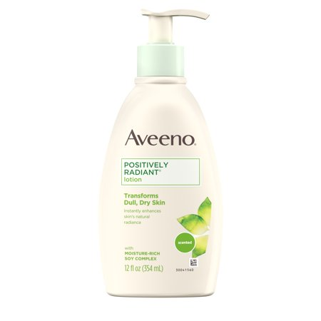 Aveeno Positively Radiant Daily Moisturizing Body Lotion with Moisture-Rich Soy Complex, Skin Brightening & Nourishing Hypoallergenic Lotion for Everyday Dry Skin Care, 12 fl. oz