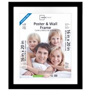 "Mainstays 20"" x 24"" Matted to 16"" x 20"" Wide Black Poster and Picture Frame"