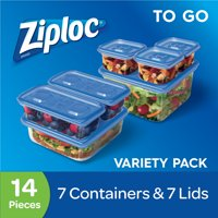 (2 pack) Ziploc Container with One Press Seal, To Go Variety Pack, 7 count