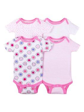 Short Sleeve Bodysuits, 4-pack (Baby Girls)