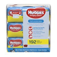 HUGGIES Simply Clean Fresh Scented Baby Wipes, Soft Pack (3-Pack, 192 Sheets Total), Alcohol-free, Hypoallergenic (Packaging May Vary)