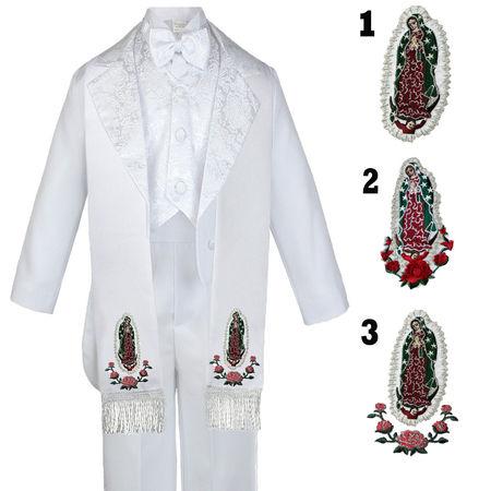 a57365420 6pc Infant Toddler & Boy Baptism Easter Formal White Tuxedo Suit Stole Sm  ...