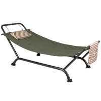 Best Choice Products Outdoor Weather-Resistant Hammockw/ 500lb Weight Capacity, Stand, Pillow, Storage Pockets for Pato, Porch, Garden - Green/Black