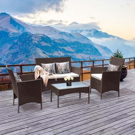 Costway 4 PC Patio Rattan Wicker Chair Sofa Table Set Outdoor Garden Furniture Cushioned ()