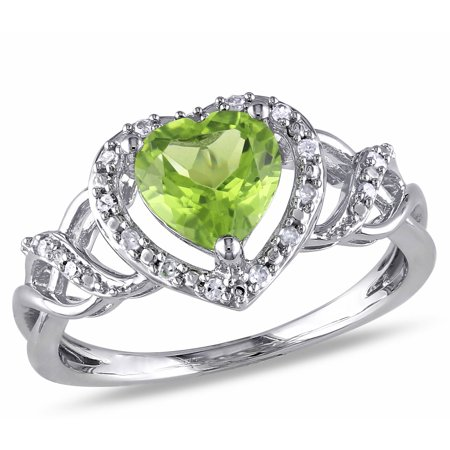 - 1-1/3 Carat T.G.W. Peridot and Diamond-Accent Sterling Silver Heart Ring