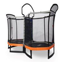 Bounce Pro Battle Zone 8 x 14-Foot Double Trampoline, with Enclosure, Orange