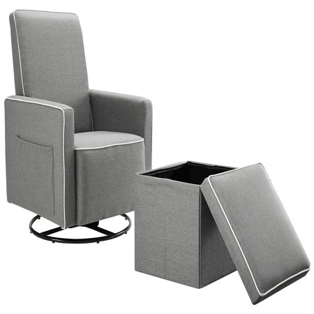 Angel Line Sophia Upholstered Swivel Glider w/ Storage Ottoman, Grey