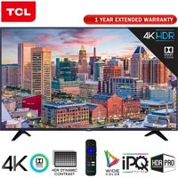 "TCL 43"" Class 5-Series Super-Slim 4K HDR Roku Smart TV 2018 Model (43S517) + 1 Year Extended Warranty"