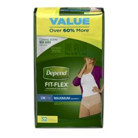 Depend FIT-FLEX Incontinence Underwear for Women, Maximum Absorbency, S/M, 32 Count