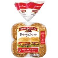 Pepperidge Farm Bakery Classics Sesame Topped Hamburger Buns, 15 oz. Bag, 8-pack